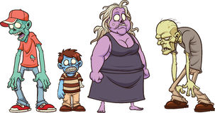 Cartoon zombies. Vector clip art illustration with simple gradients. All in a single layer Stock Images