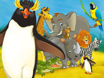 Cartoon zoo - amusement park - illustration for the children Stock Photos