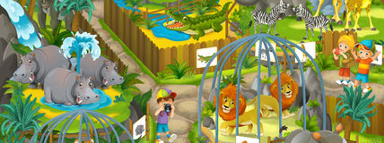 Cartoon zoo - amusement park - illustration for the children Stock Image