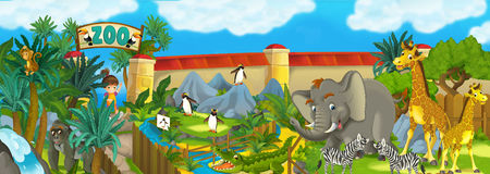 Cartoon zoo - amusement park - illustration for the children Royalty Free Stock Photos