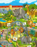 Cartoon zoo - amusement park - illustration for the children Stock Images