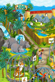Cartoon zoo - amusement park - illustration for the children Royalty Free Stock Image