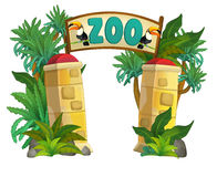 Cartoon zoo - amusement park - illustration for the children Royalty Free Stock Images