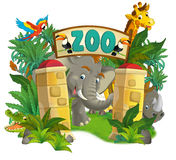 Cartoon zoo - amusement park - illustration for the children Stock Photography