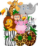 Cartoon zoo animals Stock Images