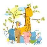 Cartoon Zoo Friends Animals Group Royalty Free Stock Image