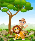 Cartoon zoo keeper man in the jungle Royalty Free Stock Image