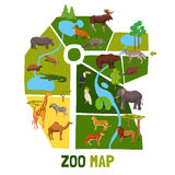 Cartoon Zoo Map With Animals Stock Images