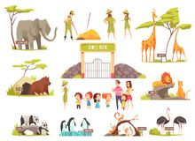 Cartoon Zoo Set. Cartoon set of happy children with their parents looking at various animals at zoo isolated on white background vector illustration royalty free illustration