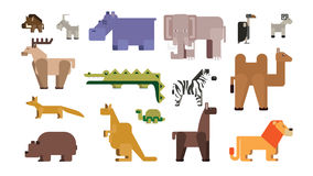 Cartoon zoo set. Funny  animals on white background. Camel, lion, bear and others Stock Photos