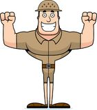 Cartoon Smiling Zookeeper. A cartoon zookeeper with a pith hat smiling Stock Photos