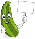 Cartoon Zucchini Holding Blank Banner Royalty Free Stock Image