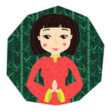 Cartoonchinese young woman  vector illustration Stock Photography