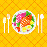 Cartoone fish dish illustration. Plate with fish and cutlery fork, knife, spoon. Tableware. Fish menu. Feed the fish for dinner. Order fish menu. Fish dish Royalty Free Stock Photos