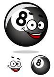 Cartooned åtta pölboll med den lyckliga framsidan Arkivfoto