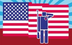 Cartooned żołnierz Salutuje flaga amerykańską Piktogram, płaski projekta styl/ ilustracja wektor