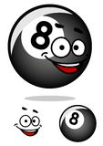 Cartooned acht poolbal met gelukkig gezicht Stock Foto
