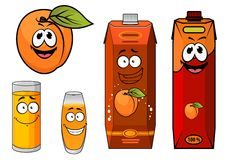 Cartooned apricot juice with glasses and apricot Royalty Free Stock Photos