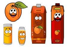 Cartooned-Aprikosensaft mit Gläsern und Aprikose Lizenzfreie Stockfotos