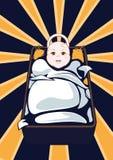 Cartooned-Baby auf Wiege mit abstraktem Hintergrund Stockfotos
