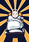 Cartooned Baby on Cradle with Abstract Background. Stock Photos