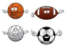 Cartooned bawi się piłka charaktery z szczęśliwą twarzą ilustracja wektor