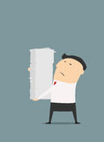 Cartooned businessman with stack of papers Royalty Free Stock Image