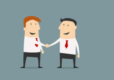 Cartooned businessmen shaking hands closing deal. Cartoon businessman shaking hands congratulating each other with successful deal in flat style for business Royalty Free Stock Photos
