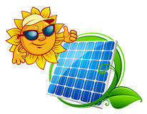 Cartooned cheerful sun with blue solar panel. Solar energy panel bordered green stem with leaves and smiling sun in sunglasses in cartoon style Stock Image