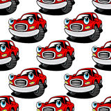 Cartooned cute red car seamless pattern Royalty Free Stock Images