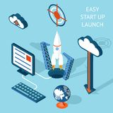 Cartooned Easy Start-up Launch Infographic Design Stock Photos