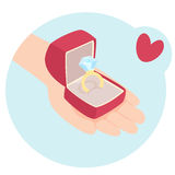 Cartooned Hand with a Box of Diamond Ring. Cartooned Graphic Design of a Human Hand with a Red Box of Diamond Ring on a Sky Blue Background with Red Heart royalty free illustration