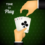 Cartooned Hand Holding Four Aces Cards. Cartooned Hand Playing Cards with Four Aces  Emphasizing Time to Play  on Green Patterned Background Royalty Free Stock Photography