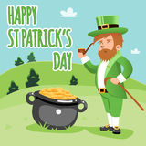 Cartooned Happy St. Patrick Day Poster Stock Image