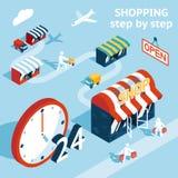 Cartooned het Winkelen Conceptontwerp vector illustratie