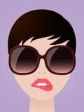 Cartooned kobieta Gryźć jej wargi z Eyeglasses ilustracja wektor