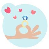 Cartooned Ludzka ręka Trzyma pierścionek z diamentem ilustracji