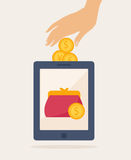 Cartooned Mobile Banking Idea Graphic Design. Simple Cartooned Mobile Banking Idea Graphic Design with Conceptual Human Hand Putting Some Coins on a Purse Inside royalty free illustration