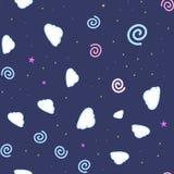 Cartooned naadloos patroon met sterren en wolken, vectorillustratieachtergrond stock illustratie