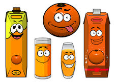 Cartooned orange fruit, juice containers and Stock Images