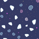 Cartooned seamless pattern with stars and clouds, vector illustration background Stock Photography
