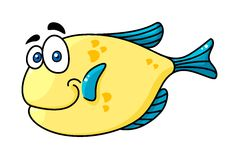 Cartooned smiling fish with big eyes. Cartooned yellow and blue smiling fish character with big eyes isolated on white background for fairytale design Royalty Free Stock Photo