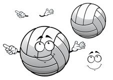 Cartooned smiling white volleyball ball Royalty Free Stock Photos