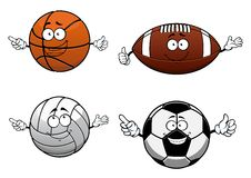 Cartooned sports balls characters with happy face Royalty Free Stock Image