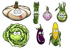 Cartooned squash, asparagus, Royalty Free Stock Photos