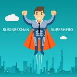 Cartooned Superhero Businessman Graphic Design Royalty Free Stock Photos