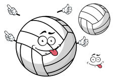 Cartooned volleyball ball with cute face and hands Stock Photos