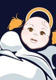 Cartoonedbaby op Wieg met Abstracte Achtergrond; Grafisch Ontwerp Stock Foto's