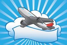 Cartooney aerplane i chmura sztandar Obrazy Stock