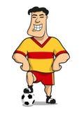 Cartoonhappy橄榄球或足球运动员 库存图片